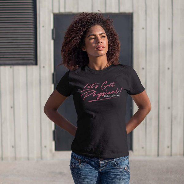naisten-musta-kasaripaita-lets-get-physical-tekstillä-ja-foksi-apparel-logolla